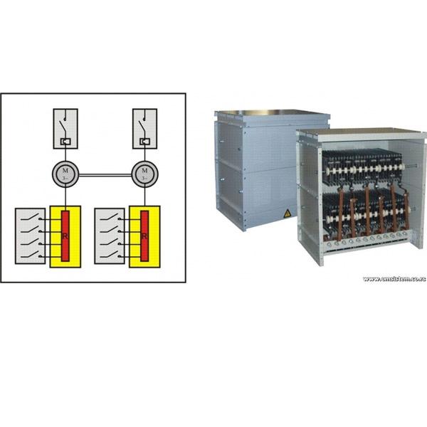 Dvomotorni pogoni asinhronih kliznoprstenastih motora mehanički spojenih - Otpornički blok