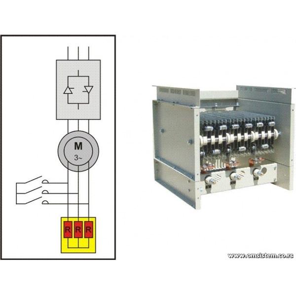 Soft Start pokretanje asinhronih kliznoprstenastih elektromotora - Trofazni otpornički blok