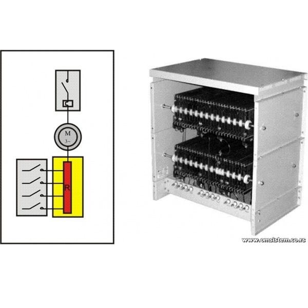 Pokretanje, podešavanje broja obrtaja i kočenjhe asinhronih kliznoprstenastih elektromotora - Trofazni otpornički blok